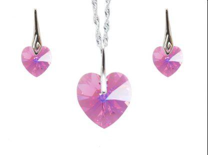 Set Roza kristalno srce